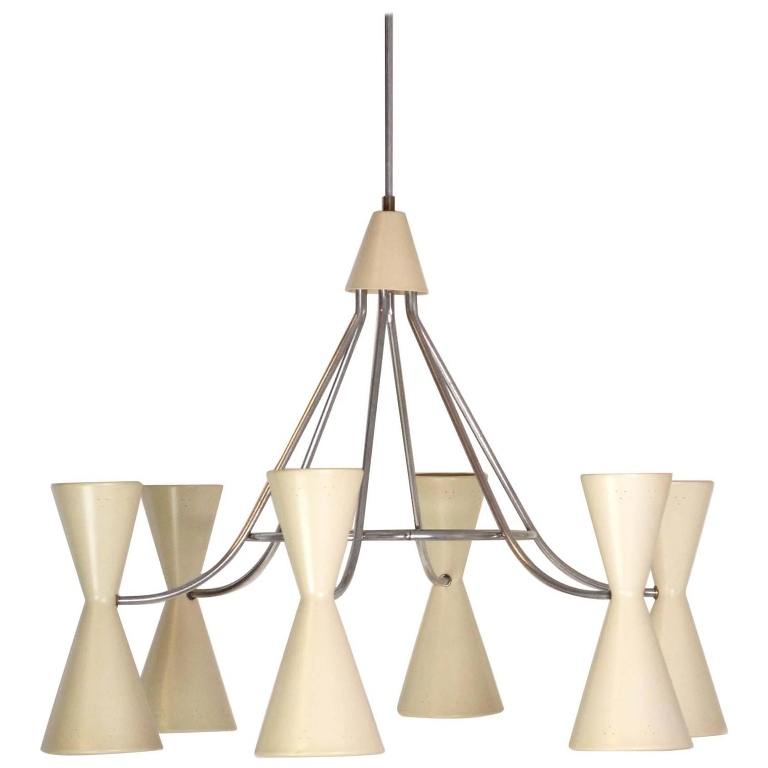 Large Double Ring Chandelier At 1stdibs: Large Mid-Century Modern Six Double Cone Chandelier For