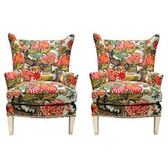 20th Century Wing Back Upholstered Armchairs