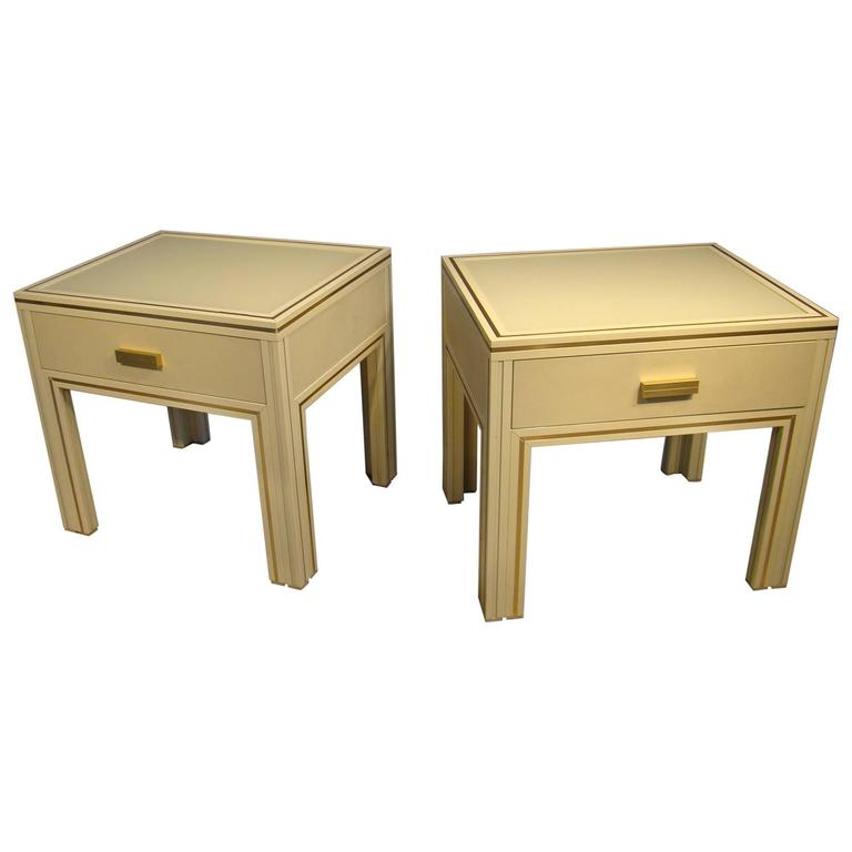Pair of Side Tables in Lacquered Metal by Pierre Vandel For Sale