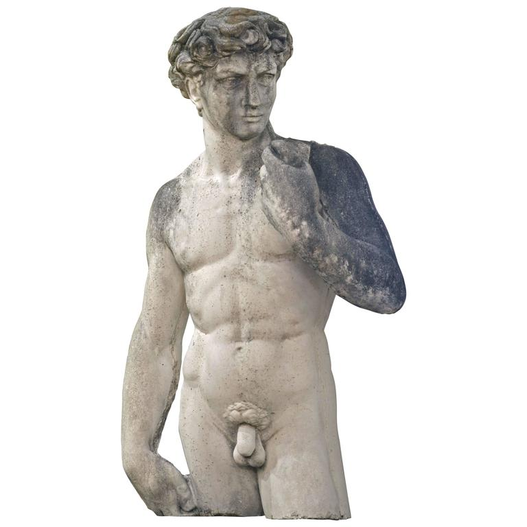 Weathered Lifesize Cast Cement Statue of Male Nude after Michelangelo's David For Sale
