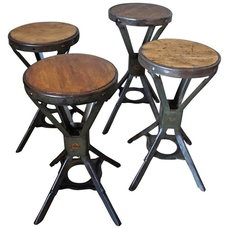 Set Of Four Industrial Evertaut Stools 1950s At 1stdibs