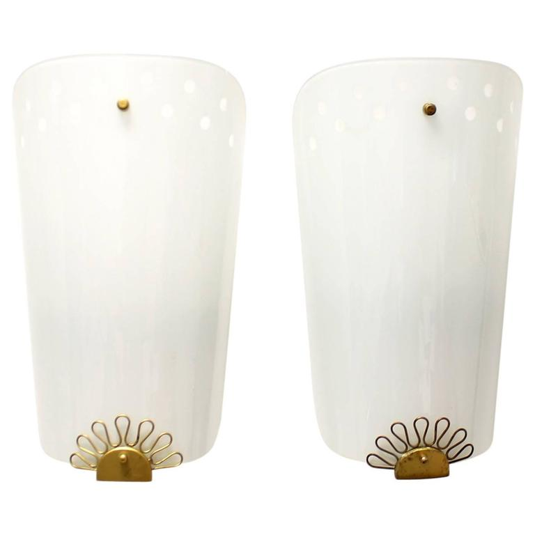 Pair of Large Vintage 1950s Glass and Brass Cinema Sconces Wall Lights