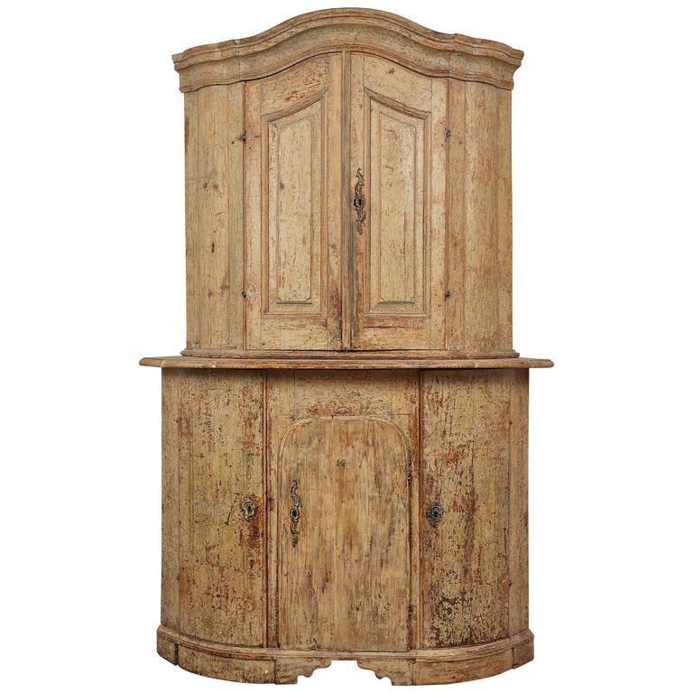 18th Century Gustavian Corner Cabinet For Sale