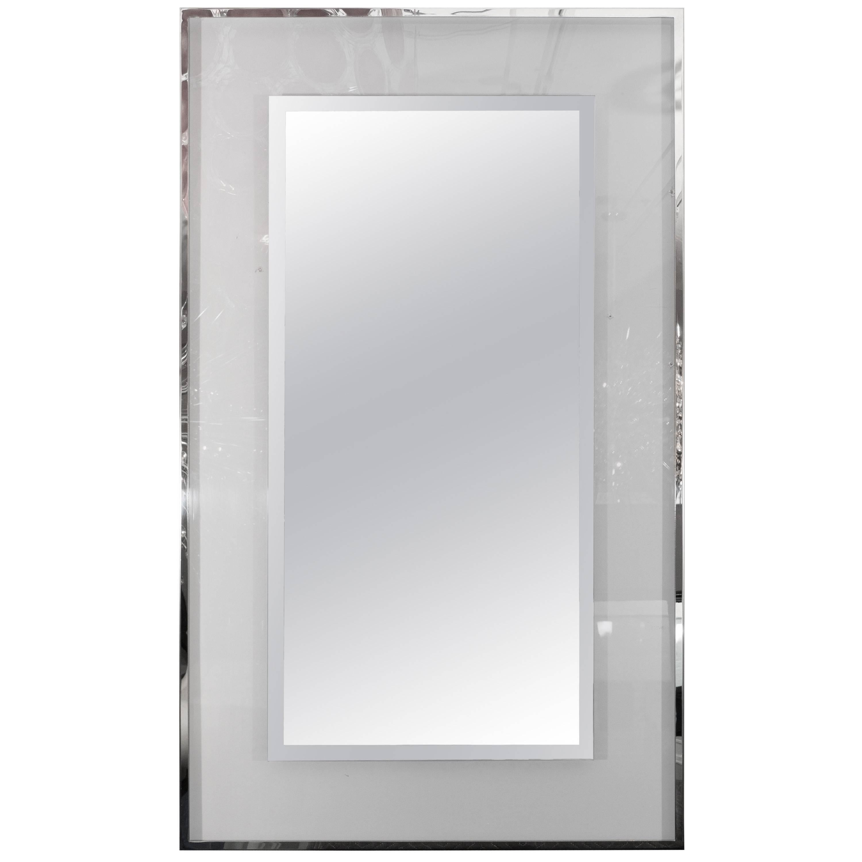Custom Lucite and Mirrored Stainless Steel Trimmed Mirror