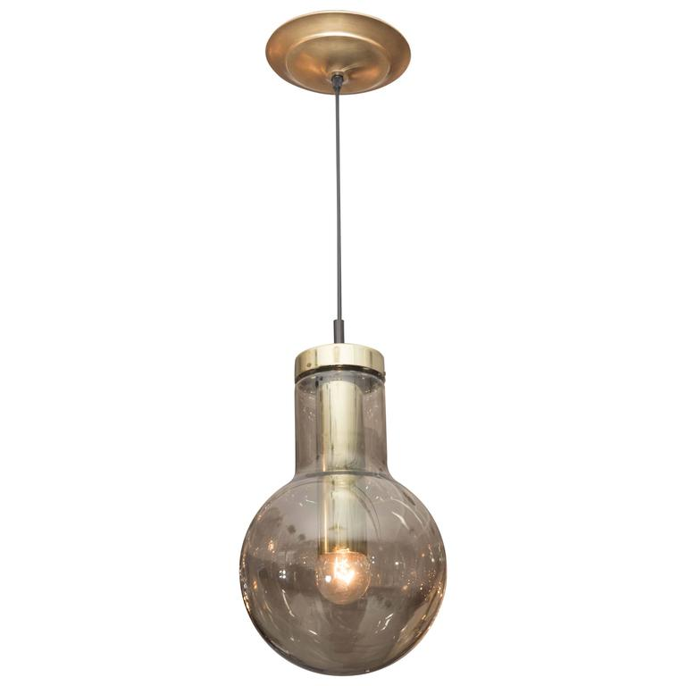 RAAK Smoke Glass and Brass Pendant