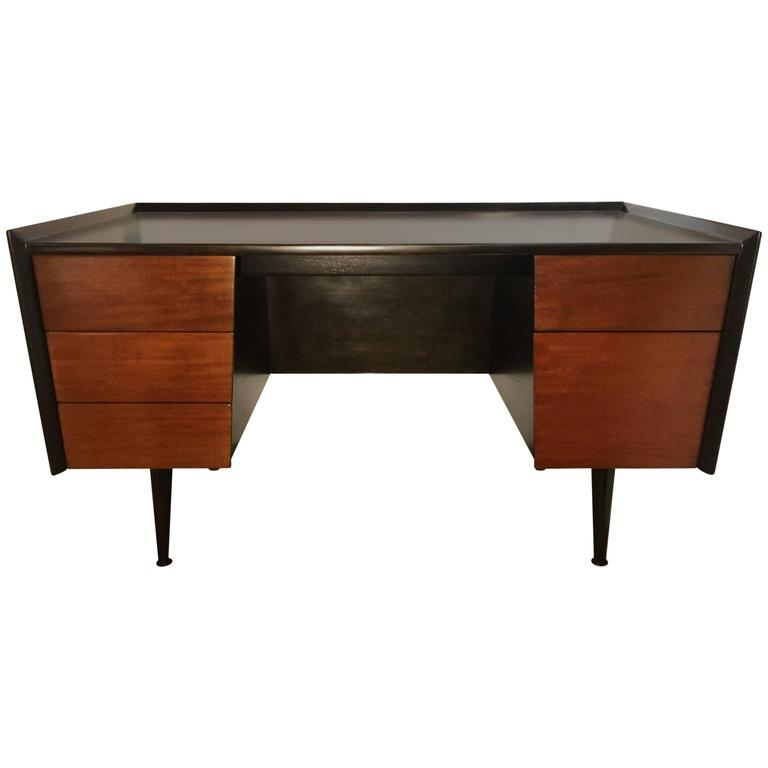 Jens Risom Mid-Century Modern Five-Drawer Mahogany Writers Desk For Sale