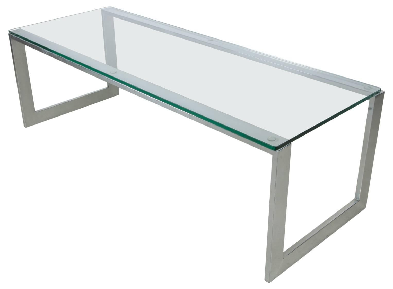 Pace Collection Chrome and Glass Cocktail Table