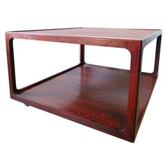 Italian Rosewood Two-Tier Coffee Table on Wheels