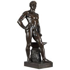 """Bronze """"Le Travail,"""" Signed Moreau"""