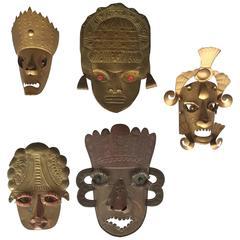 Mexican Brass Decorative Masks