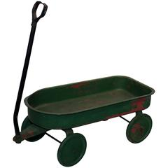Painted Green Toy Wagon