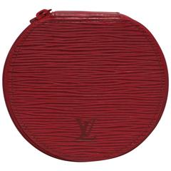 Red LV Louis Vuitton Leather Travel Jewelry Box, from France