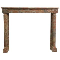 19th Century Empire Style Mantel Carved in Incarnat Turquin Marble