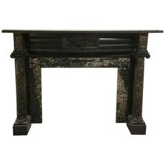 19th Century Federalist Style Mantel in Belgian Black and Portoro Marble