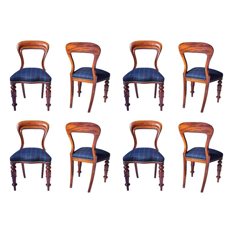 William IV Set of 8 'Balloon' Chairs in Cuban Mahogany and Blue Plaid Wool 1830s