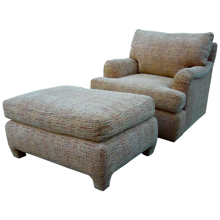 Swivel Club Chair and Matching Ottoman Designed by Gina B