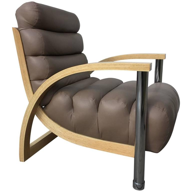 """Jay Spectre """"Eclipse"""" Leather Lounge Chair"""