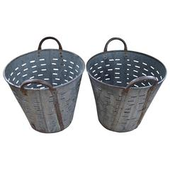 Vintage Turkish Olive Baskets, Pair