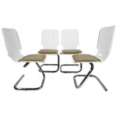 Mid-Century Modern Lucite and Chrome Dining Chairs by Luigi Bardini