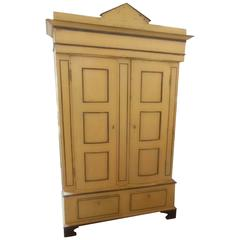 Handsome Painted Swedish Cabinet with Bowed Doors