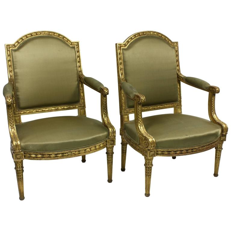 Pair of Fine Quality Louis XVI Style Giltwood Armchairs 1