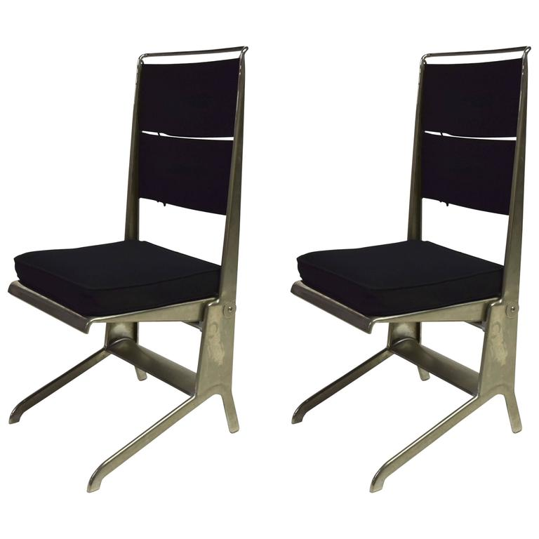 Pair of Jean Prouvé Folding Chairs Designed 1930, Manufactured by Tecta 1983 1