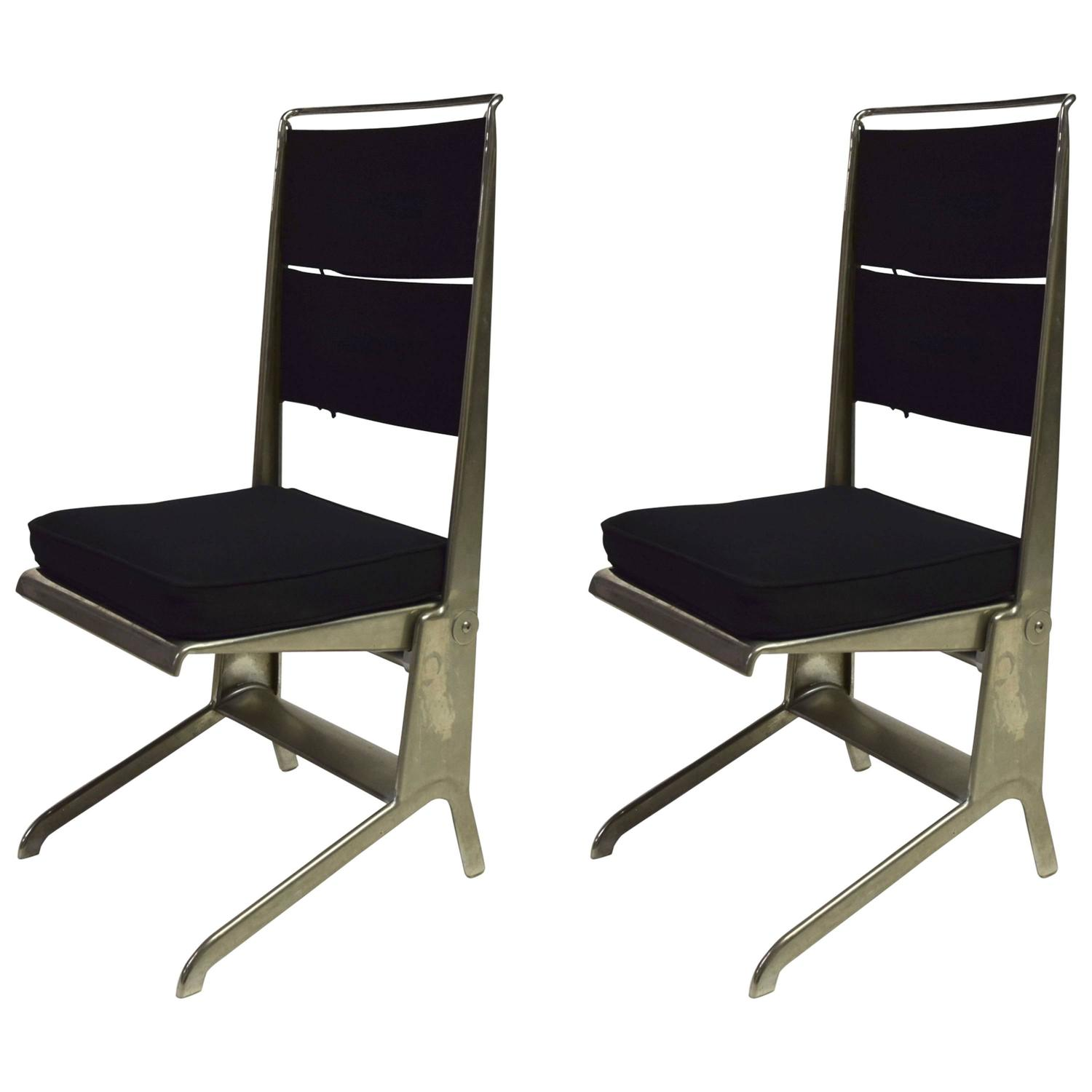 Pair of Jean Prouvé Folding Chairs Designed 1930 Manufactured by