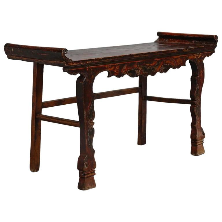 Carved Elm and Pine Chinese Altar Table with Original Red Paint