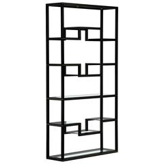 Mid Century Pierre Vandel Black Lacquer and Brass Etagere