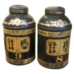 Pair of Vintage Tea Cannisters