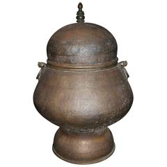 Large Middle Eastern or Persian Covered Copper Urn or Centerpiece