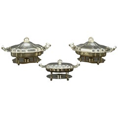 Three American Silver Plate Chafing Dishes of Large-Scale