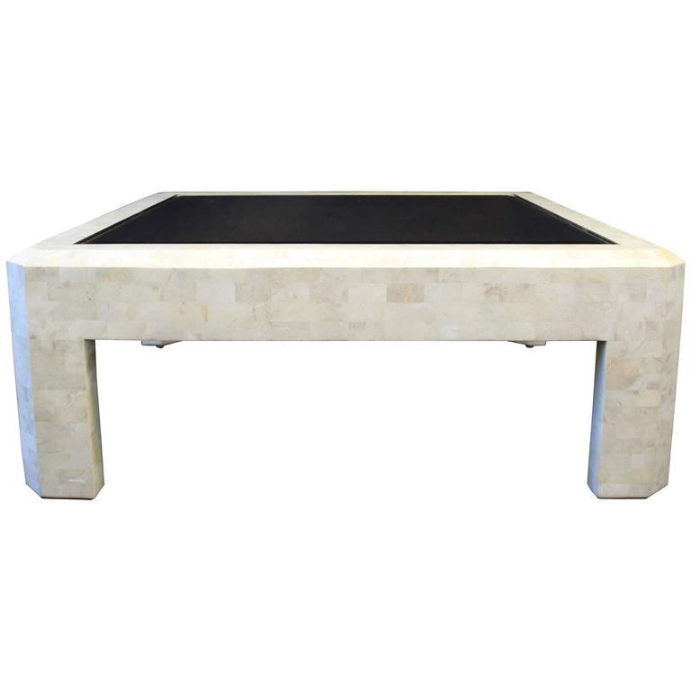Maitland Smith Tessellated Stone Brass Coffee Table At 1stdibs