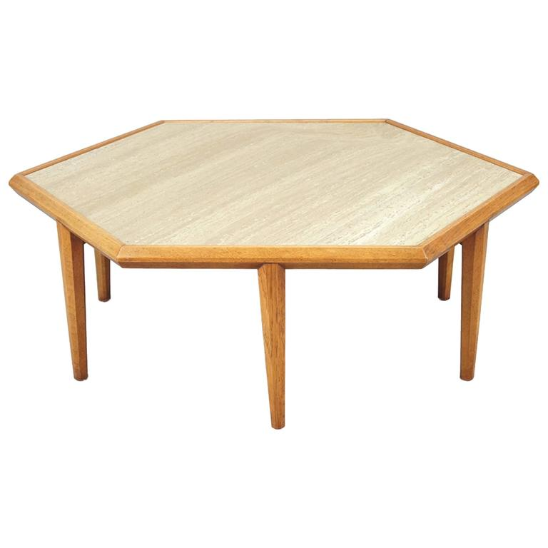Travertine and Walnut Table Attributed to Harvey Probber