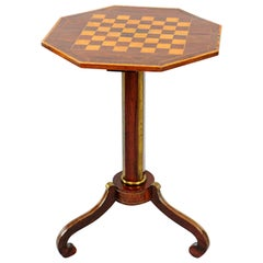 Exceptional Russian Parquetry Inlaid Chess Table with Gilt Mounts.  Great color.