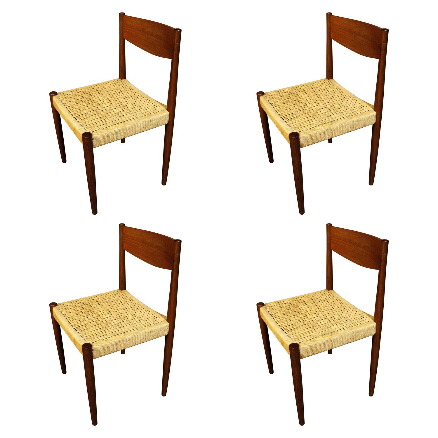 Four poul volther for frem rojle danish teak woven cord dining chairs for sale at 1stdibs - Scandinavian teak dining room furniture ...