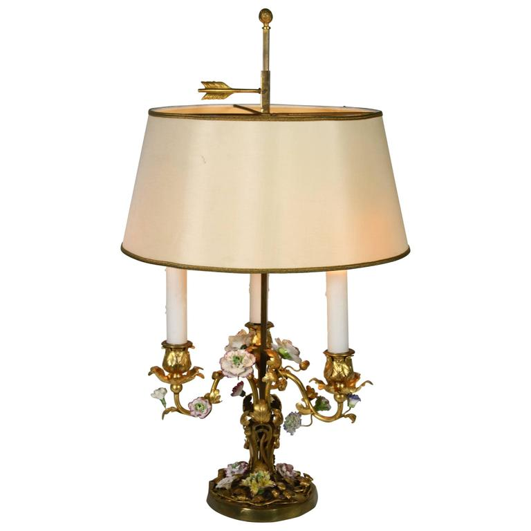 French Gilt-Bronze and Porcelain Flower Bouillotte Lamp For Sale