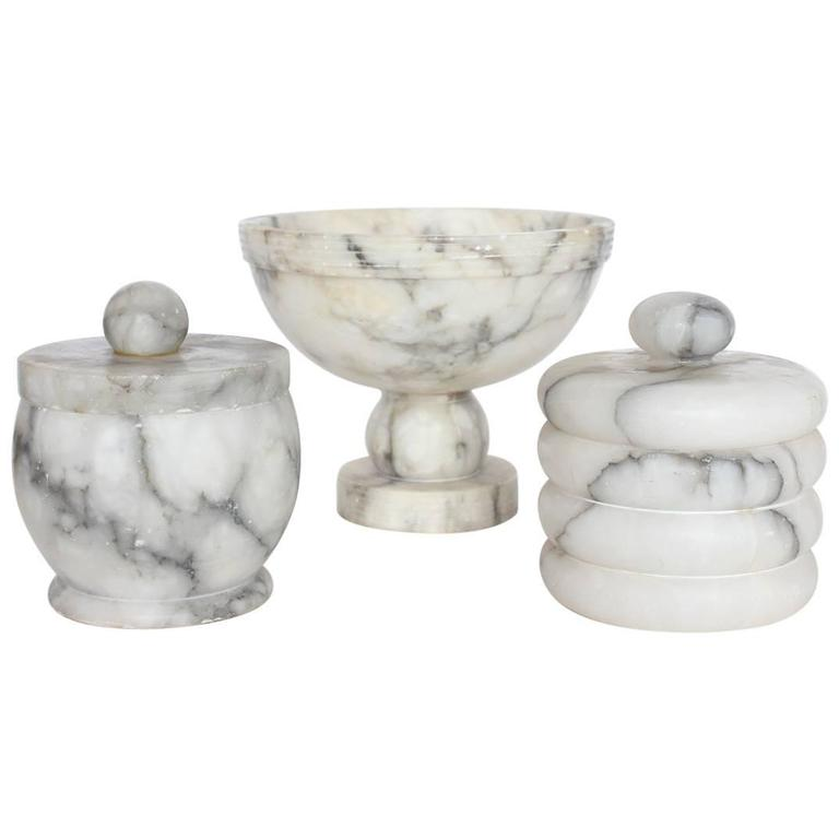 Collection of Vintage Italian Alabaster Boxes and Footed Bowl