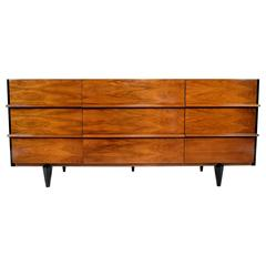 1960s American of Martinsville Walnut Nine-Drawer Dresser