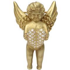 18-Karat Gold & Diamonds Kieselstein Cord Angel with Heart Brooch or Pin