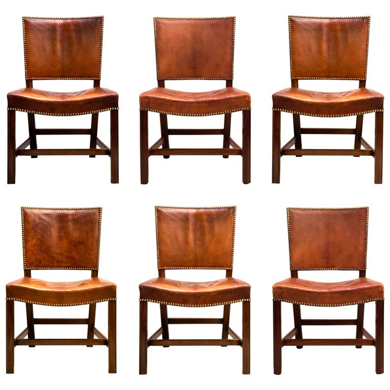 "Six Large ""Red Chairs"" by Kaare Klint in Original Patinated Nigerian Goatskin For Sale"