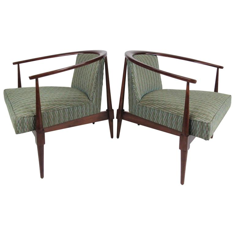 Pair of mid century modern upholstered lounge chairs for for Mid century modern upholstered chair