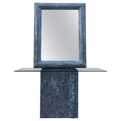 Maitland Smith Grey Tesselated Stone Console and Mirror
