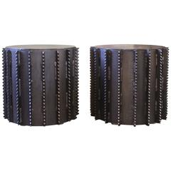 Pair of Steel Side Tables Industrial Brutalist Style