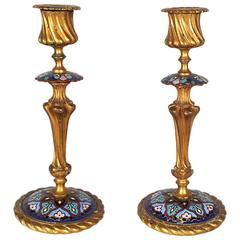 Antique Pair of French Bronze Champlevé Enamel Candlesticks
