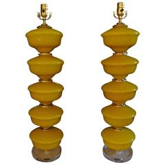 Tall Pair of Yellow Murano Glass Lamps on Lucite Bases