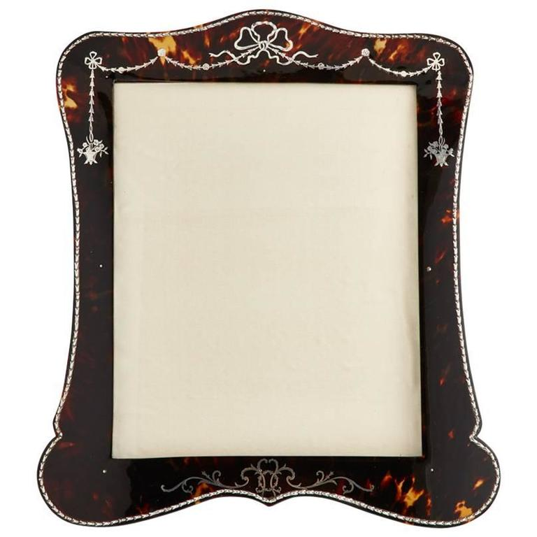 Beautiful Tortoiseshell and Silver Picture Frame by Vickery, London, circa 1910 For Sale