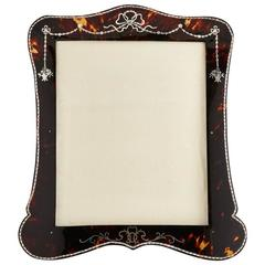 Beautiful Tortoiseshell and Silver Picture Frame by Vickery, London, circa 1910