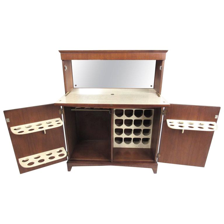 Mid-Century Modern Walnut Dry Bar Cabinet For Sale