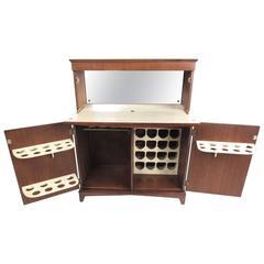 Mid-Century Modern Walnut Dry Bar Cabinet